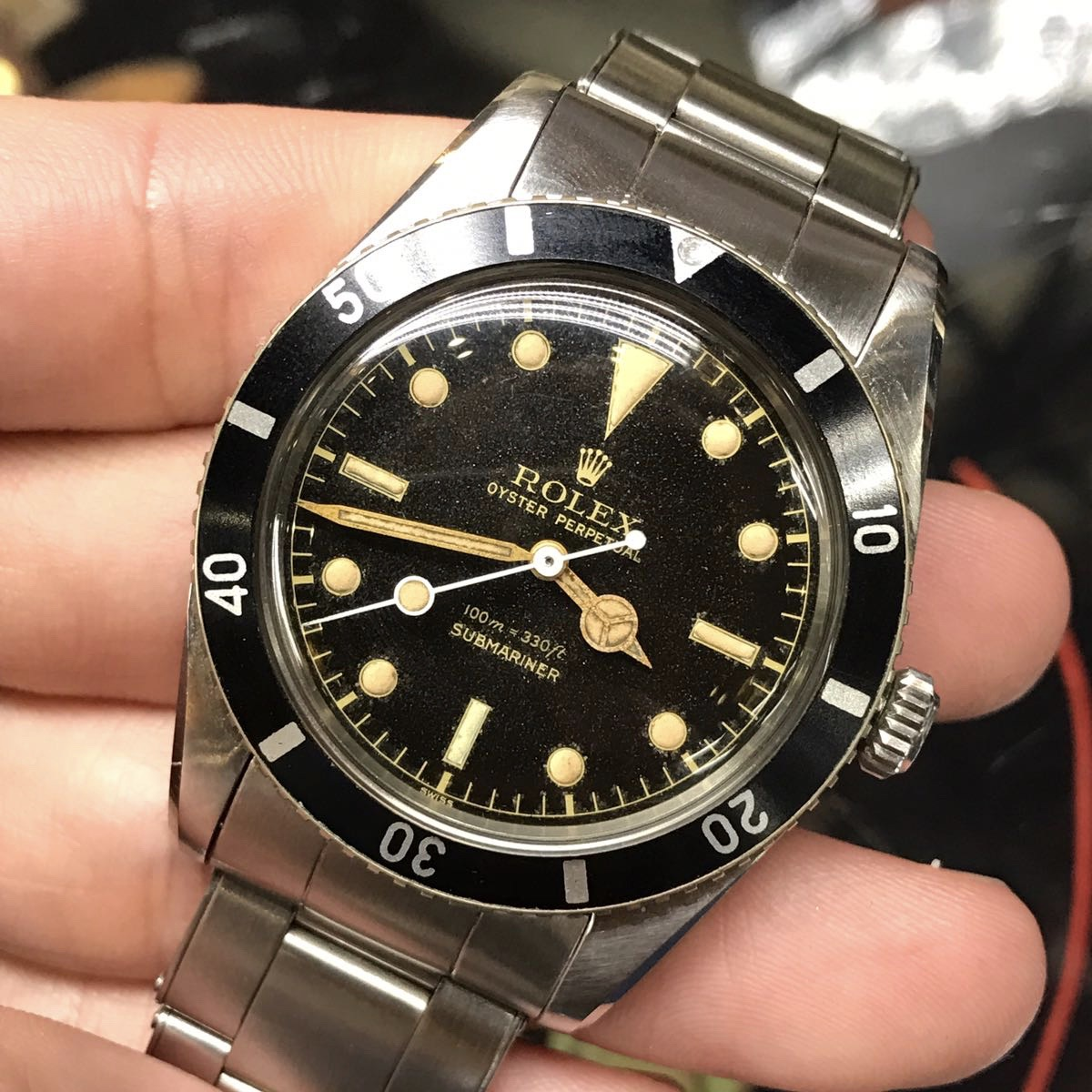 Rolex Ref 6536-1 Small Crown with an original no hash bezel circa 1956 #Status Sold